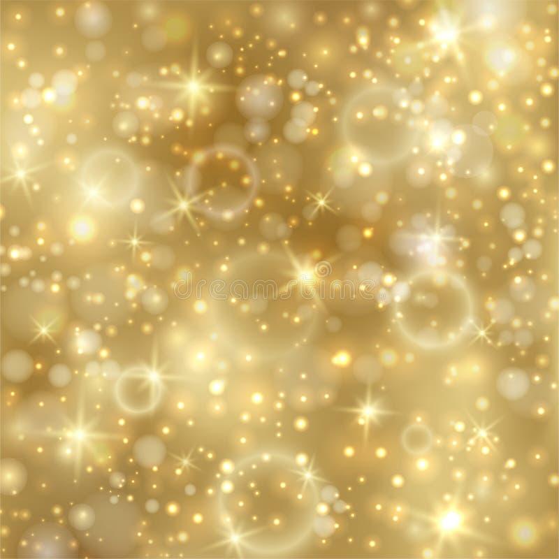Złoty tło z gwiazdami i złotymi światłami ilustracja wektor