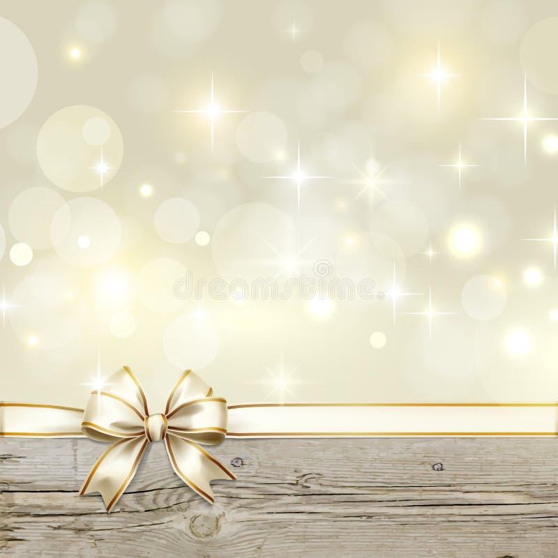 Złoty tasiemkowy łęk z bokeh bożych narodzeń dekoracją ilustracja wektor