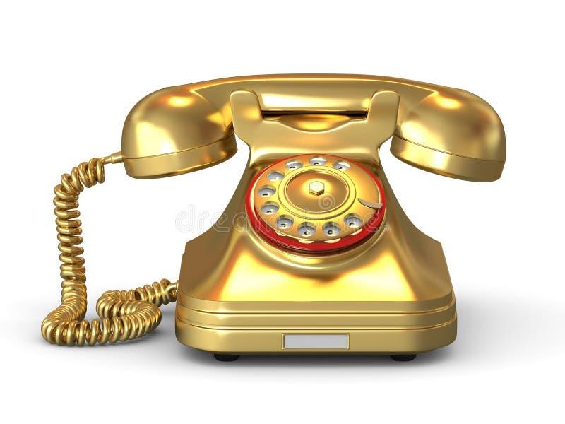 złoty telefon royalty ilustracja