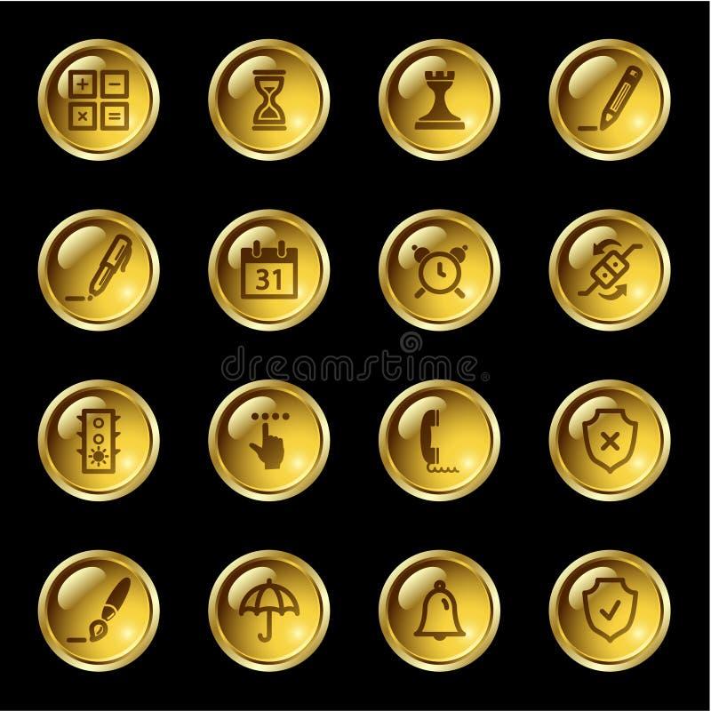 złoty transmisyjnego ikony oprogramowania ilustracji