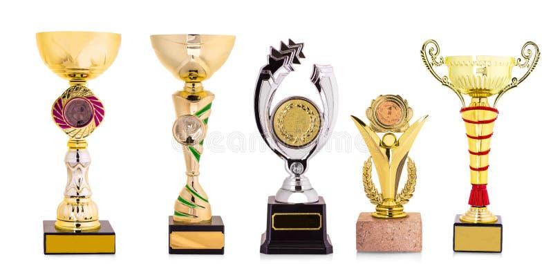 Złoty trofeum odizolowywający na białym tle obraz royalty free