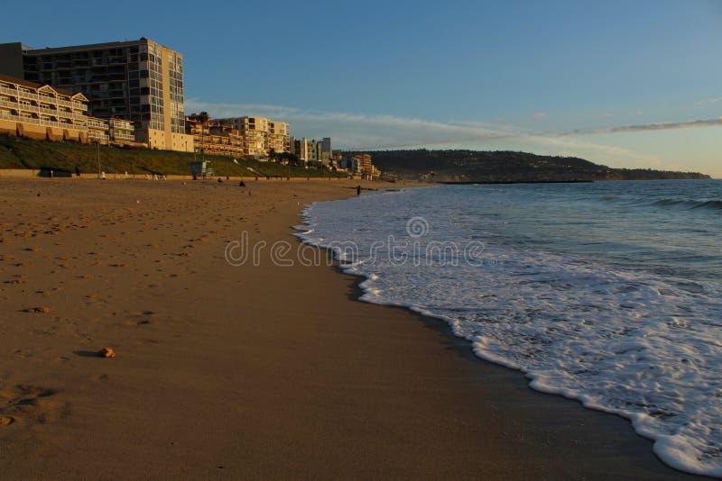 Złoty wieczór, Redondo plaża, Los Angeles, Kalifornia zdjęcie stock