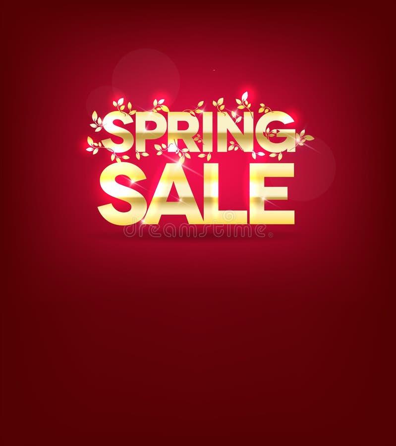 Złoty wiosny sprzedaży plakat, liście i lekcy promienie, ilustracja wektor