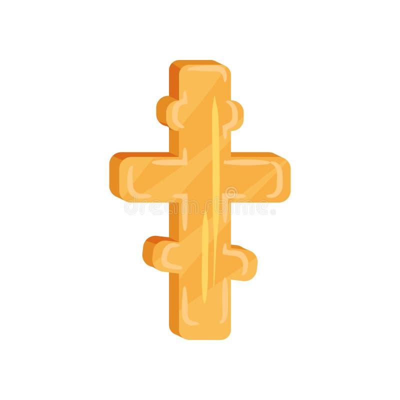 Złoty wskazujący krzyż Chrześcijański kultura temat Symbol Ortodoksalny kościół Płaski wektorowy element dla strony internetowej  ilustracji