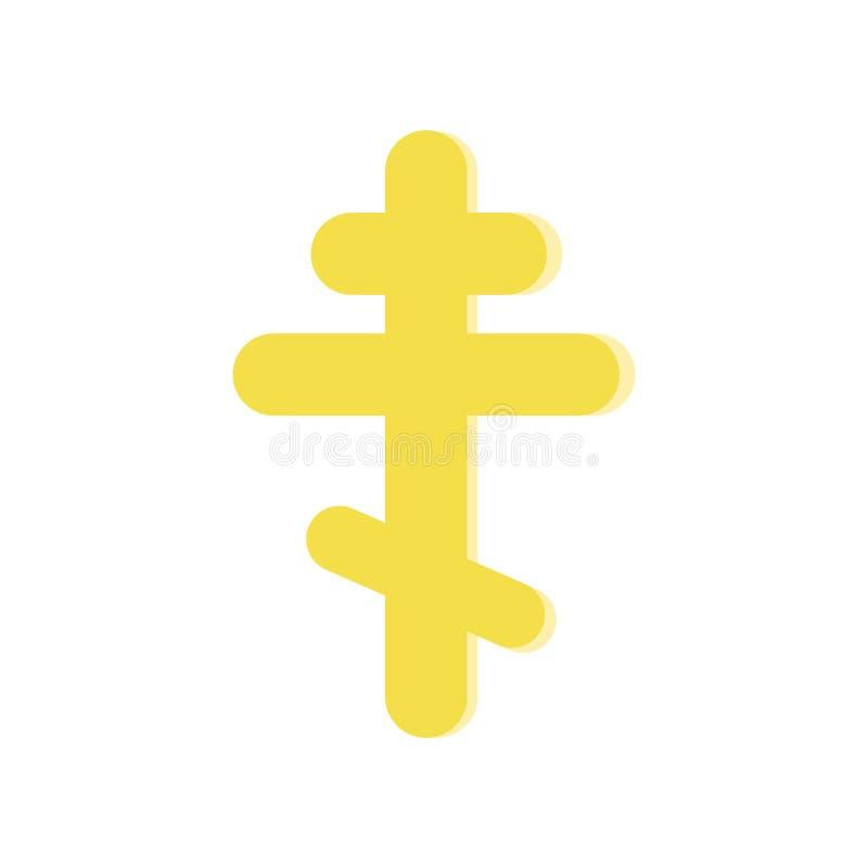 Złoty wskazujący krzyż Symbol Ortodoksalny kościół Religijna ikona w mieszkanie stylu Wektorowy projekta element dla strony inter royalty ilustracja