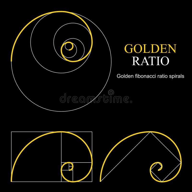 Złoty współczynnika szablonu set Proporcja symbol projekta elementu grafika Złotej sekci spirala royalty ilustracja
