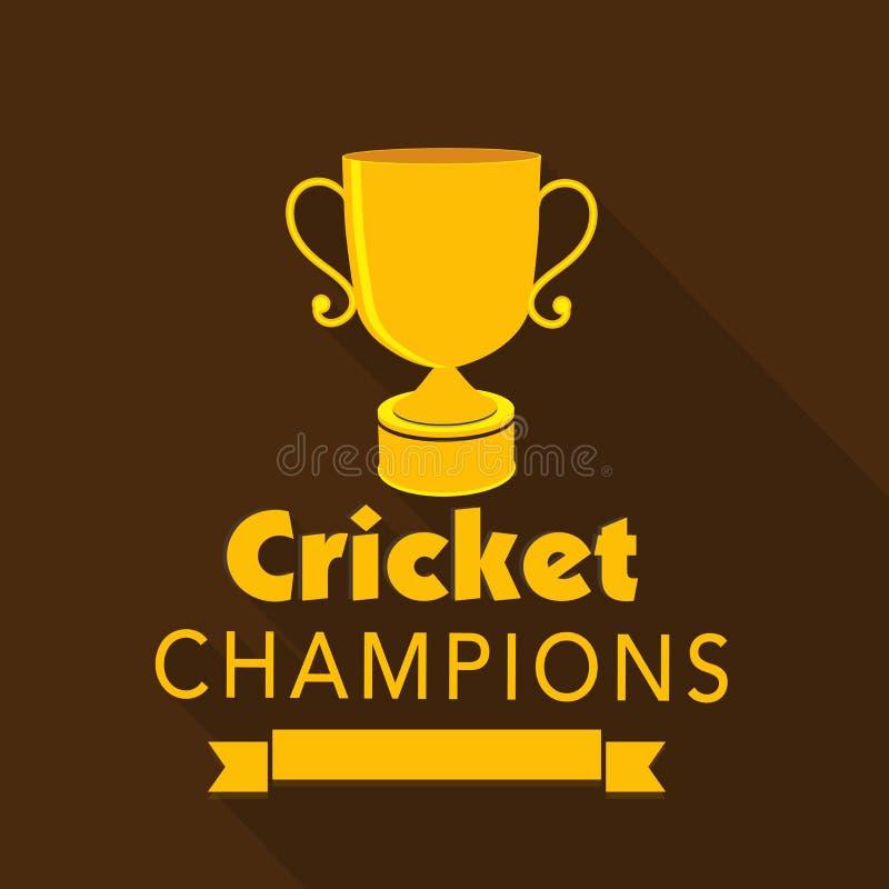 Złoty wygrany trofeum dla krykiet mistrzów ilustracja wektor