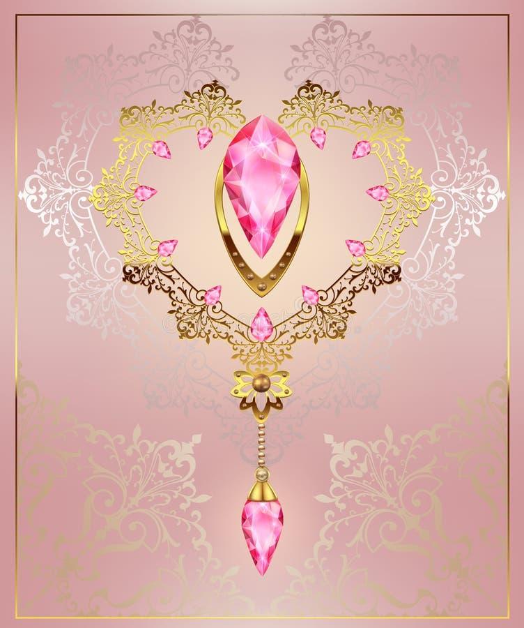 Złoty wystroju serce z biżuteria otoczakami karowymi na kwiecistym tle z art deco ornamentem ilustracja wektor