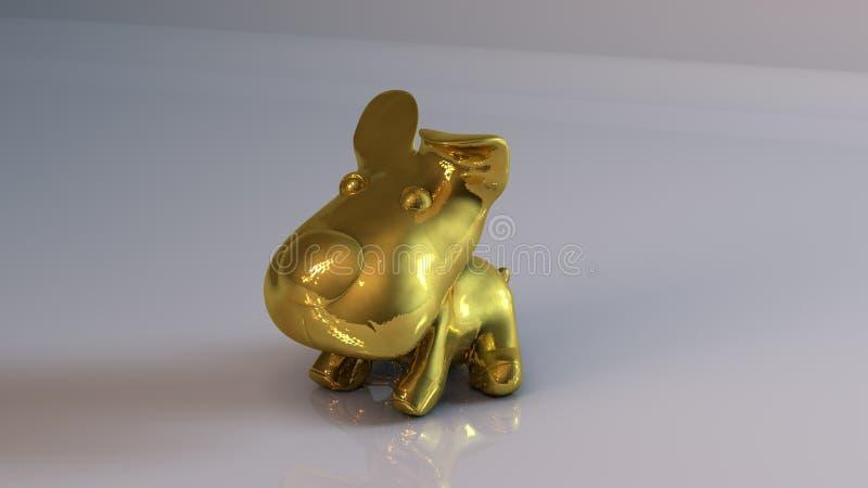 Złoty zabawkarski pies ilustracji