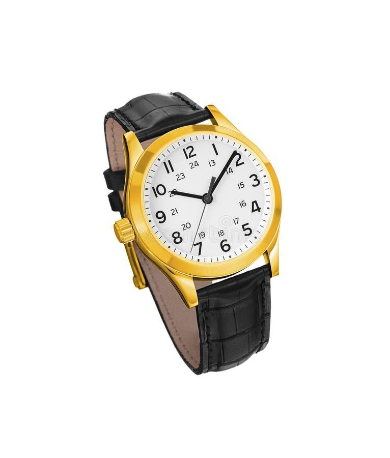 Złoty zegarek odizolowywający zdjęcia royalty free
