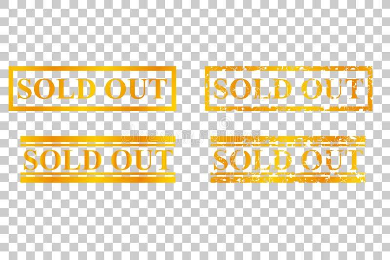Złoty znaczek, Sprzedający Out, przy Przejrzystym skutka tłem ilustracji