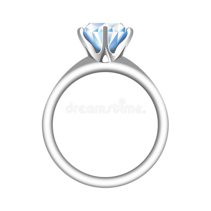 Złoty zobowiązanie lub obrączka ślubna z dużym, błyszczącym diamentem, royalty ilustracja