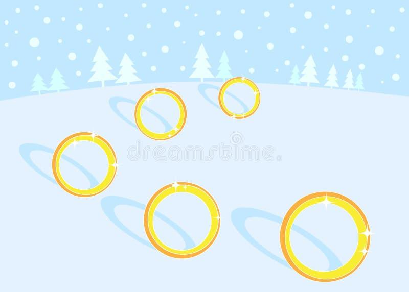 złotych święto bożęgo narodzenia 5 12 pierścionków ilustracja wektor