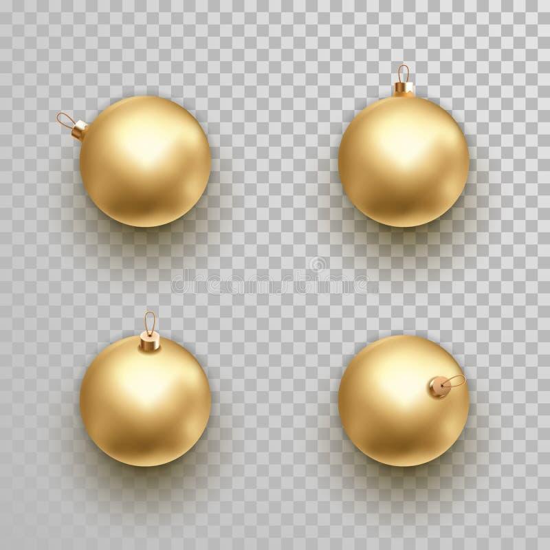 Złotych Bożenarodzeniowych balowych dekoracja ornamentów odosobniony wektor ilustracji