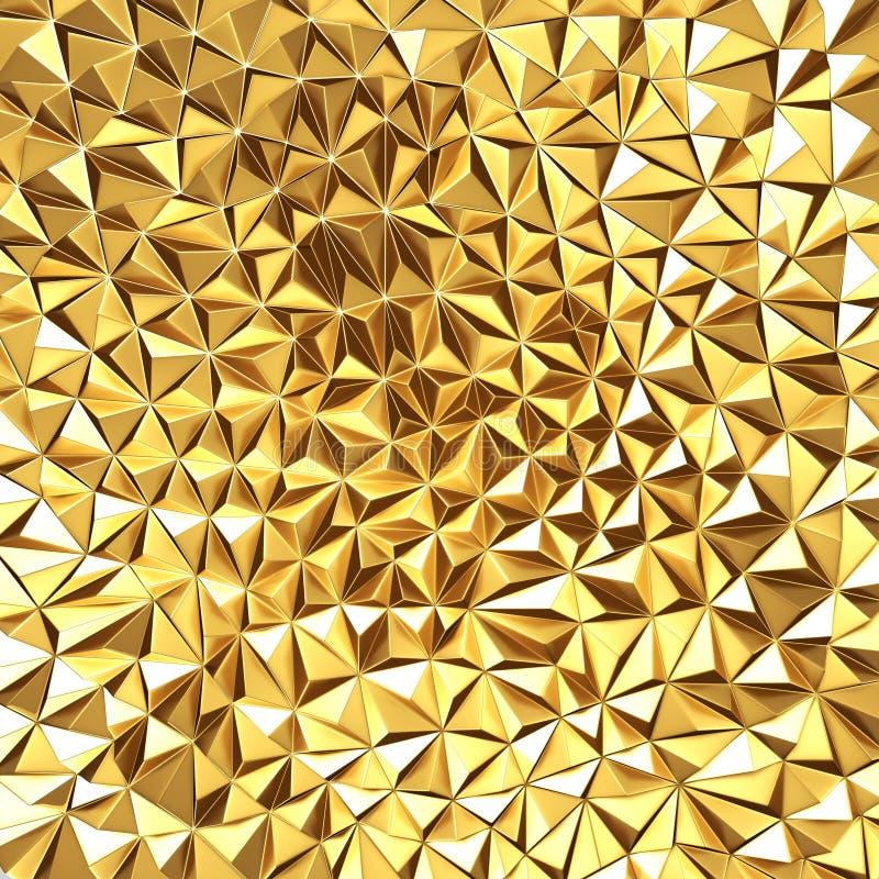 Złotych chaotycznych poligons deseniowy tło ilustracja wektor