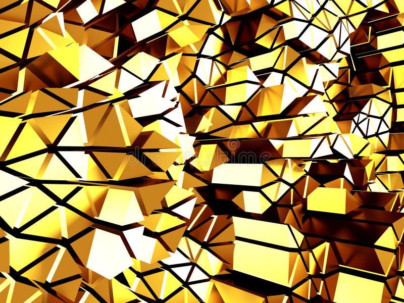 Złotych chaotycznych poligons deseniowy tło royalty ilustracja