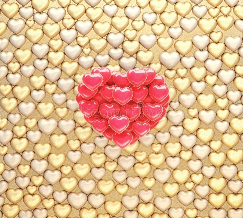Złotych i czerwonych serc balonowa ilustracja zdjęcie stock