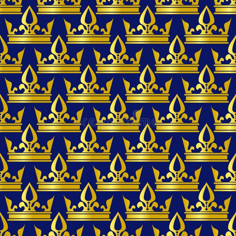 Złotych koron błękitny wektorowy bezszwowy wzór ilustracja wektor