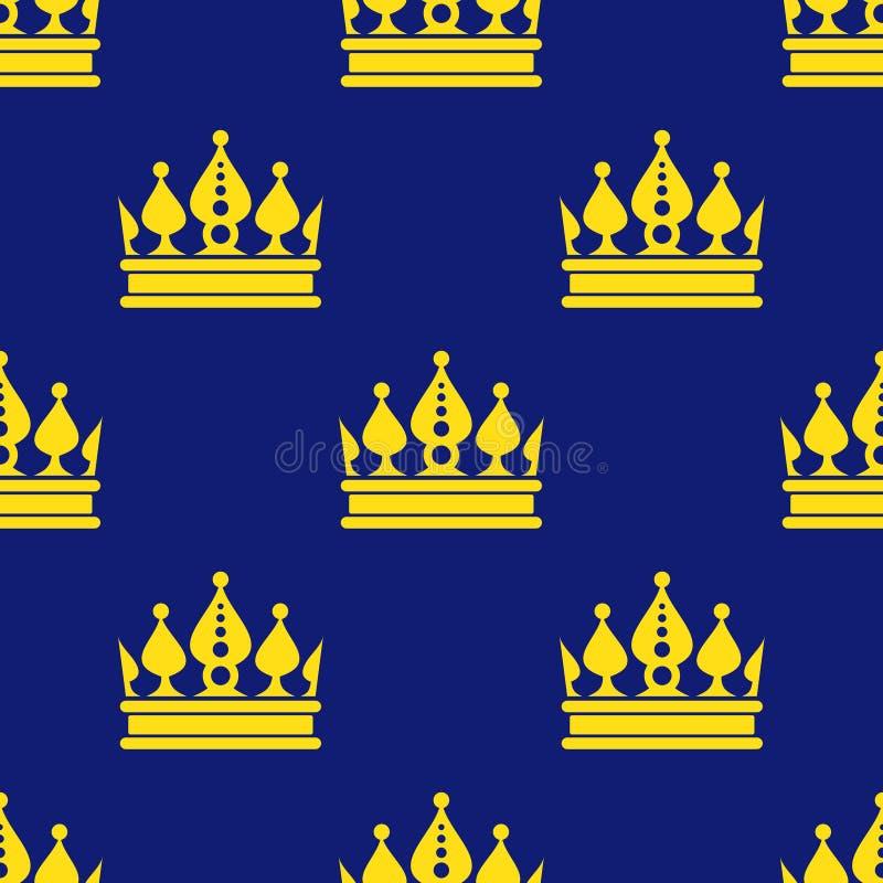 Złotych koron błękitny wektorowy bezszwowy wzór royalty ilustracja
