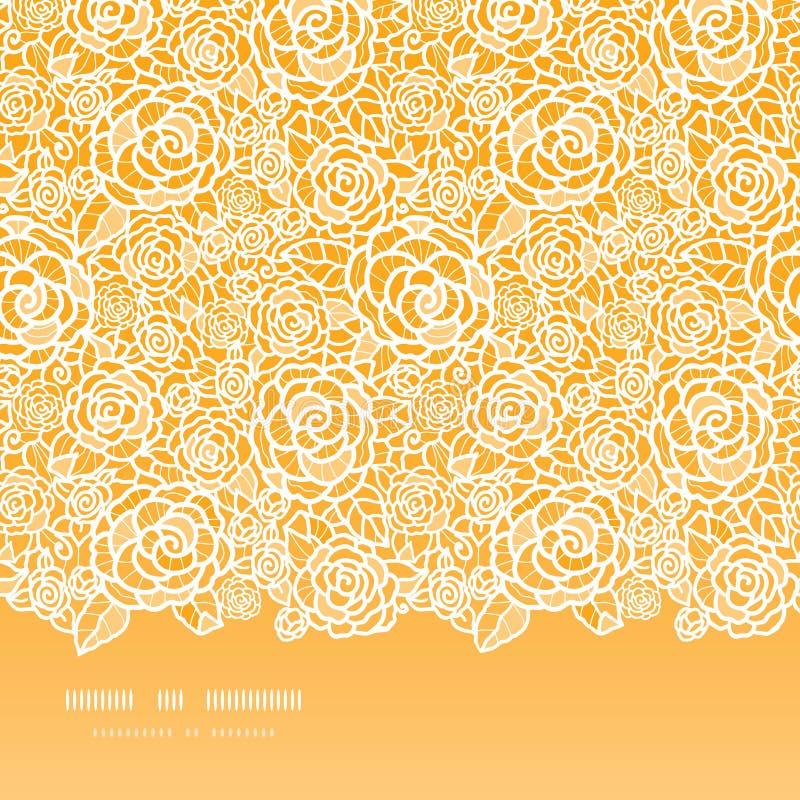 Złotych Koronkowych Róż Horyzontalny Bezszwowy Wzór Obraz Stock
