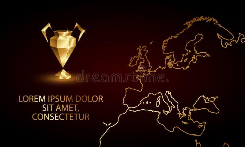 Złotych Niskich Poli- mistrzów filiżanki Ligowy sztandar Abstrakcjonistyczny Poligonalny 3D piłki nożnej ligi trofeum ilustracja wektor