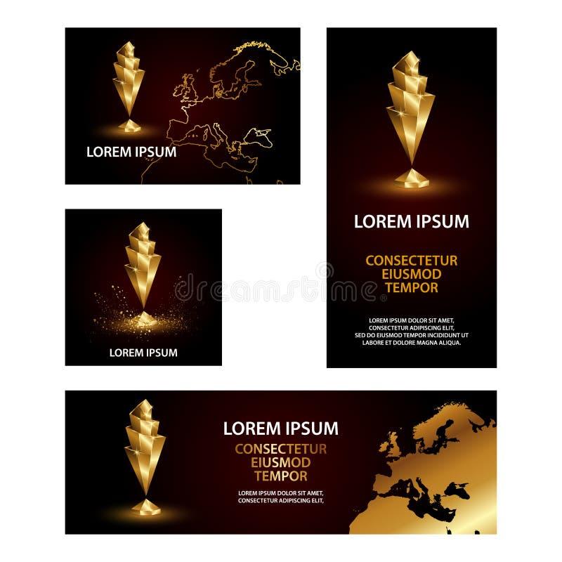 Złotych Niskich Poli- sportów narodów filiżanki Ligowi sztandary ustawiający ilustracja wektor