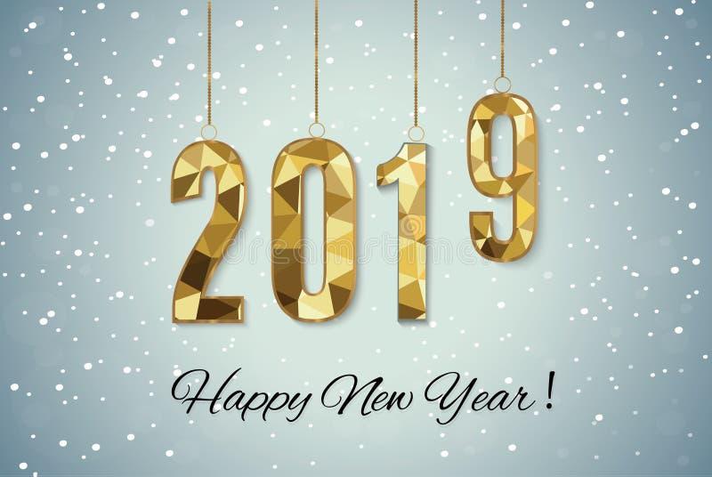 2019 złotych nowy rok znaków z złotym błyskotliwości i ładowania panelem na czarnym tle ilustracyjny nowy wektorowy rok ilustracja wektor