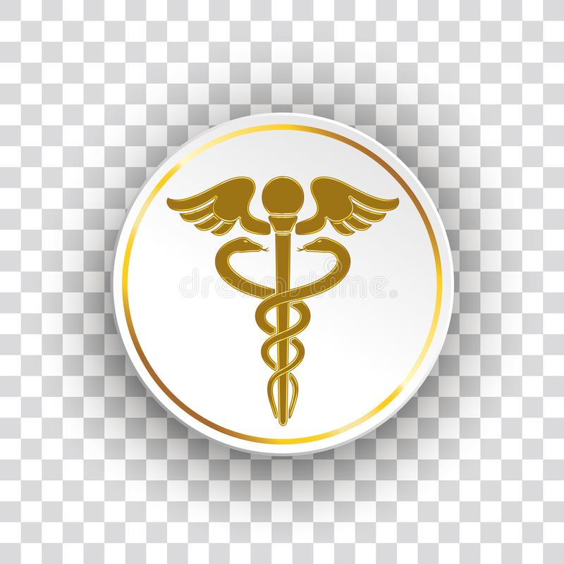 Złotych Papierowych okregów zdrowie Aesculapian personel ilustracji