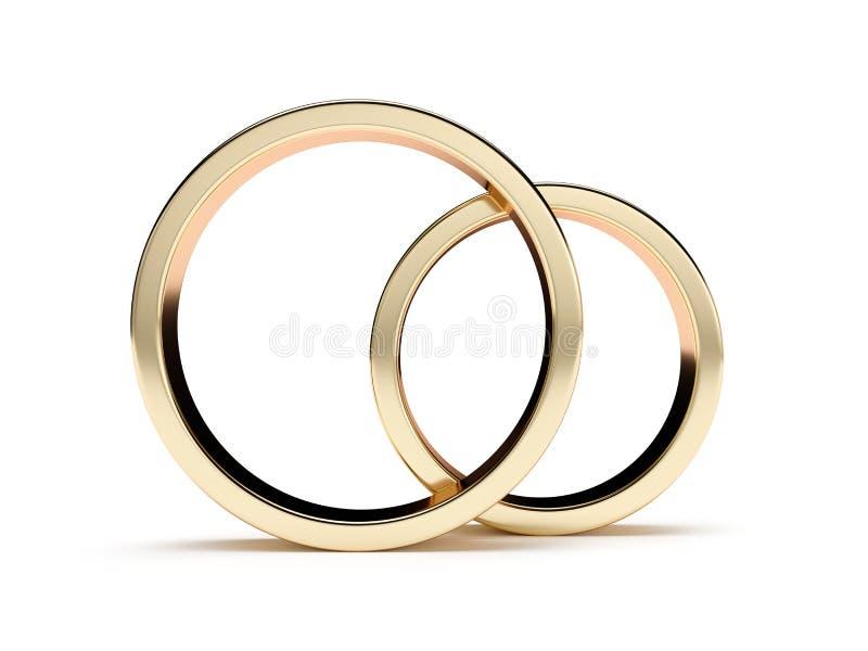 Złotych pierścionków frontowy widok ilustracja wektor