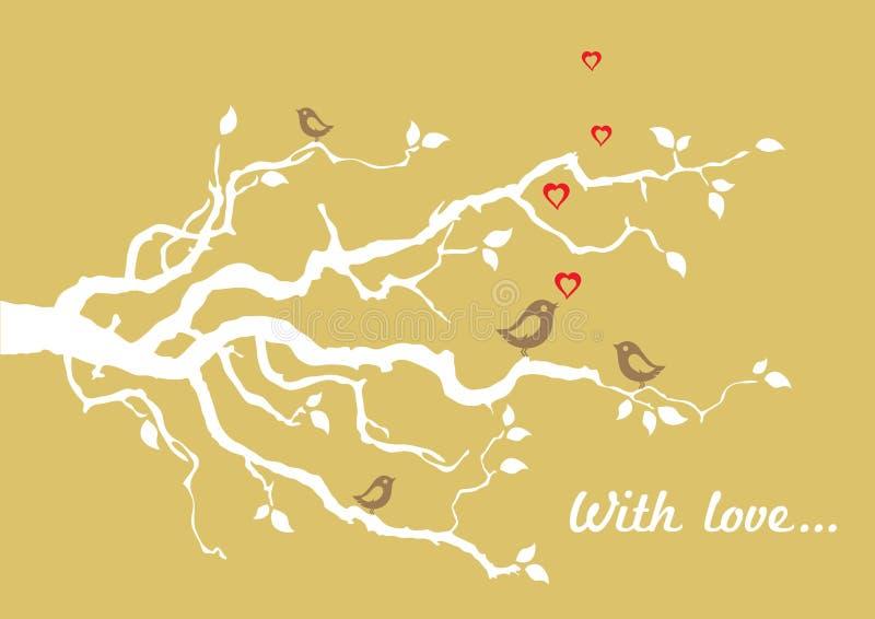 Złotym 'Z miłości' kartka z pozdrowieniami z ptakami ilustracja wektor