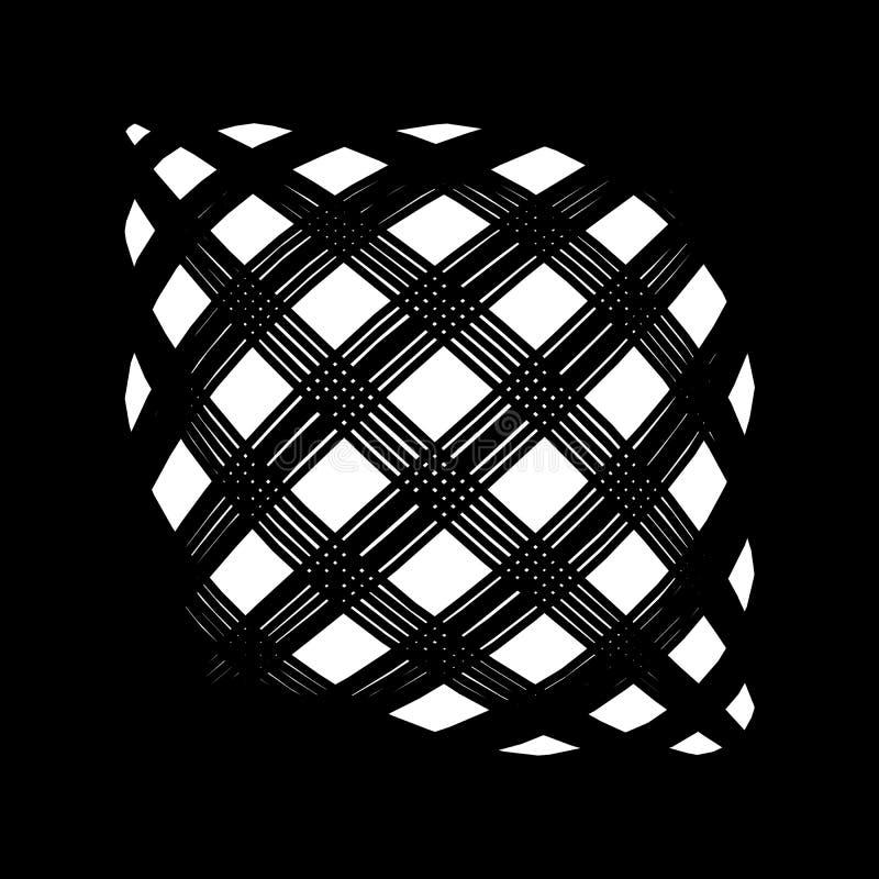 Złudny abstrakta wzór w czarny i biały Illusory skutek trójwymiarowy przedmiot w samolocie royalty ilustracja
