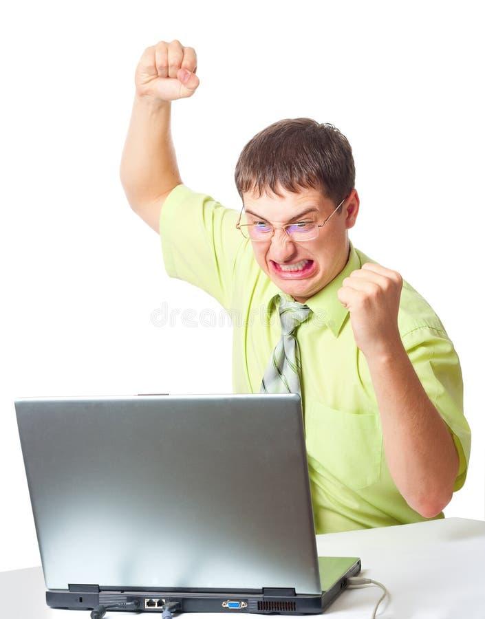 zły biznesmena laptop zdjęcia stock