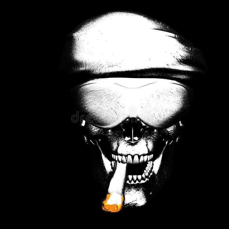 zły cygarowa czaszka ilustracja wektor