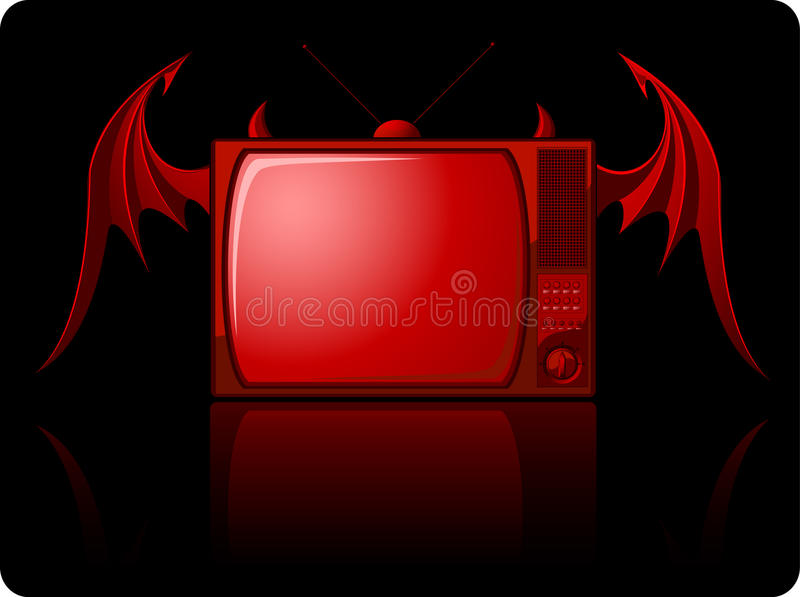 zły czerwony retro tv royalty ilustracja