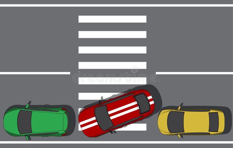 Zły parking crosswalk royalty ilustracja