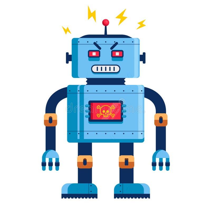 Zły robot w pełnym przyroscie humanoid futurystyczny ilustracja wektor
