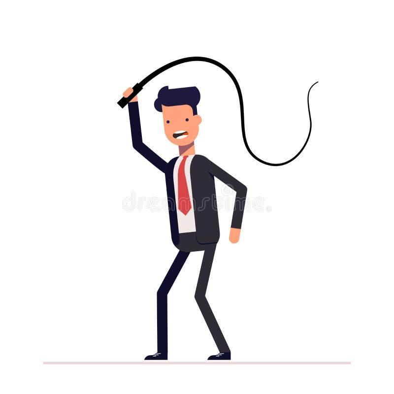 Zły szef lub biznesmen z batem w jego ręki Dominacja, demonstracja władza i władza, Slaveholder royalty ilustracja
