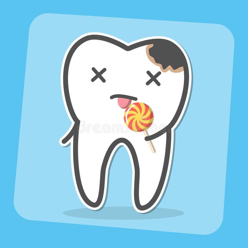 Zły ząb z próchnicami zagłębienie i lizak royalty ilustracja