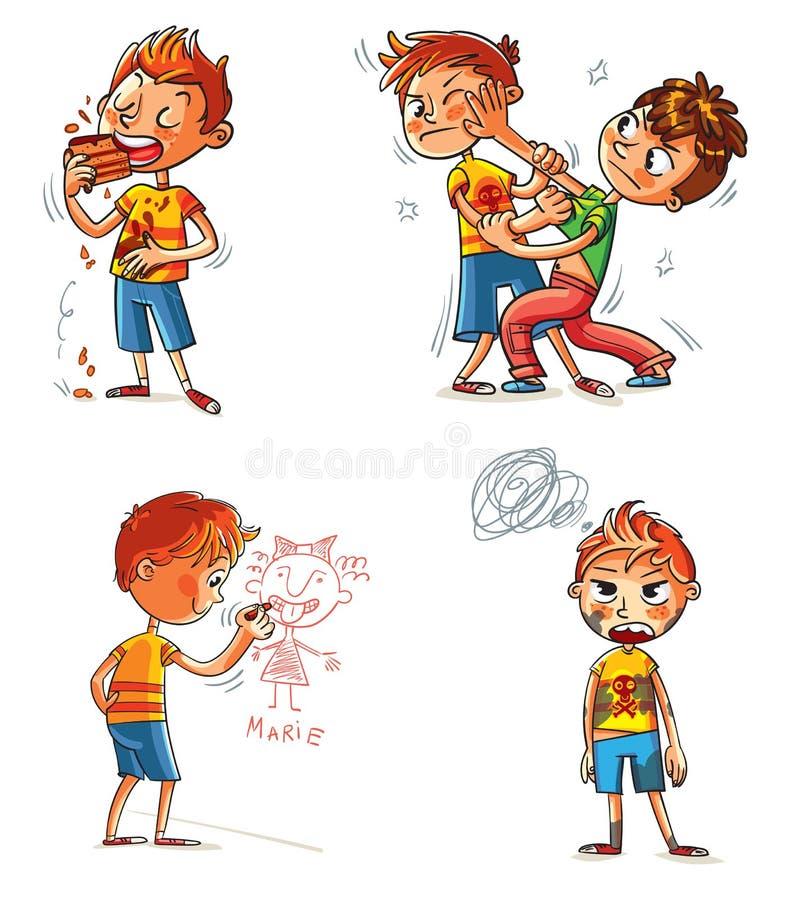 zły zachowanie postać z kreskówki śmieszne ilustracji