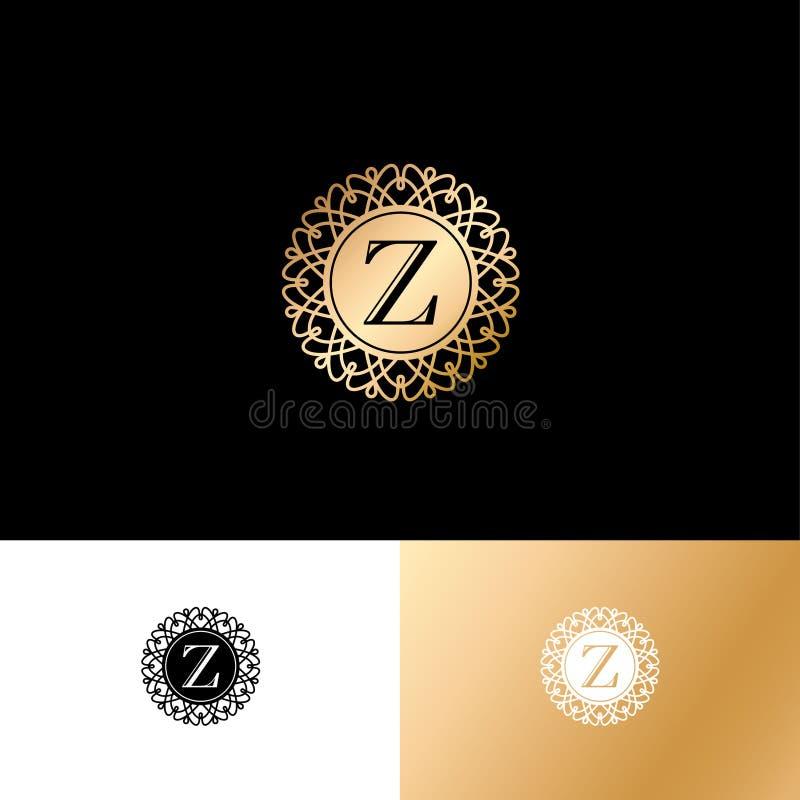 Z信件或组合图案 在一个圈子的原始的金Z字母符号与鞋带装饰品 皇族释放例证