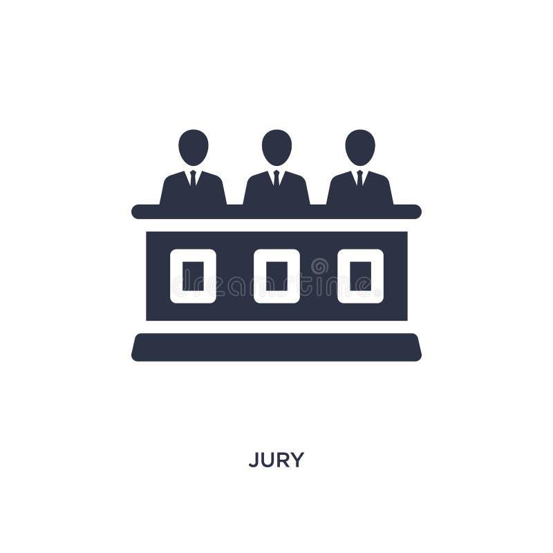 z ławą przysięgłych ikona na białym tle Prosta element ilustracja od prawa i sprawiedliwości pojęcia ilustracja wektor