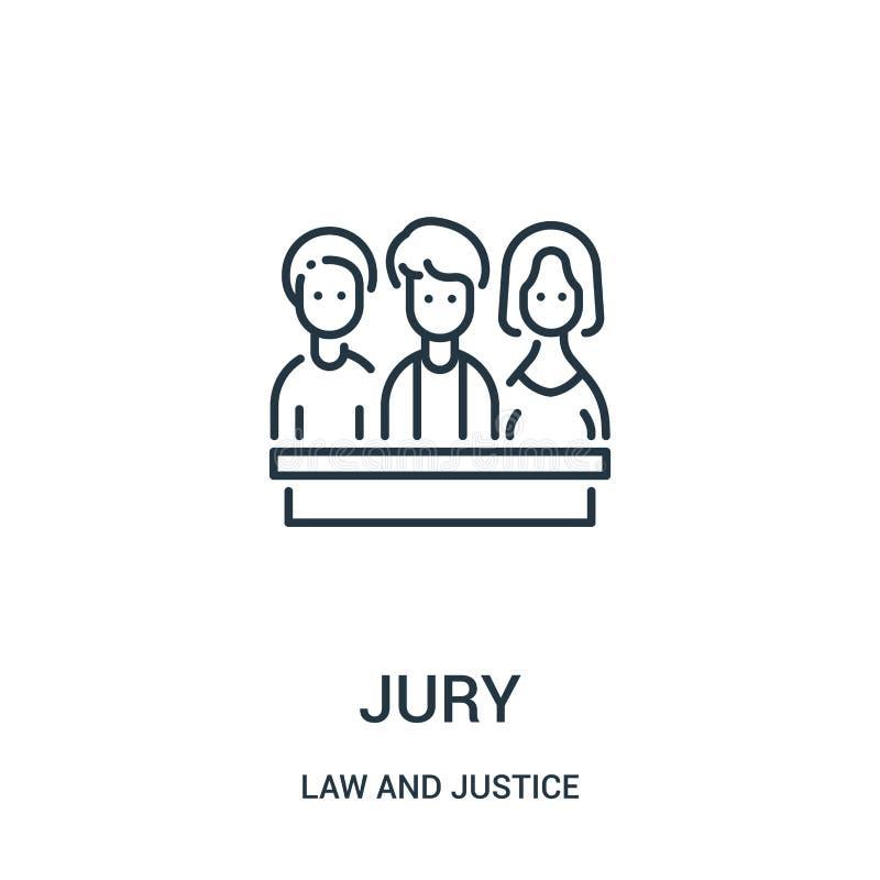 z ławą przysięgłych ikona wektor od prawa i sprawiedliwości kolekcji Cienka kreskowa z ławą przysięgłych kontur ikony wektoru ilu ilustracja wektor