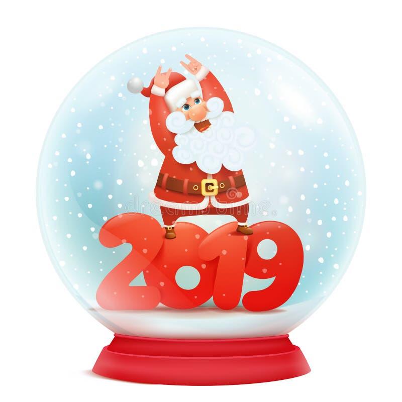 Z Święty Mikołaj śnieżna kula ziemska Nowego roku zaproszenia 2019 karciany szablon royalty ilustracja