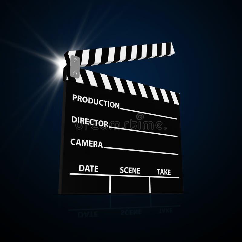 Z Światło reflektorów kinowy Klaśnięcie ilustracja wektor