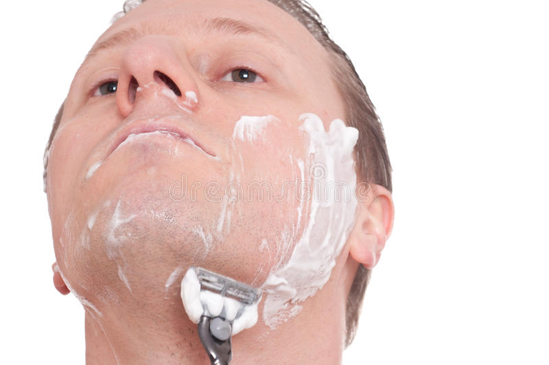 Z żyletką mokry samiec golenie obrazy stock