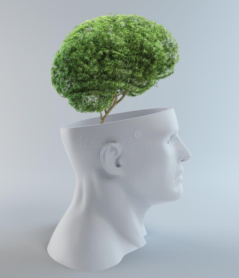 Z abstrakcjonistycznej głowy drzewny dorośnięcie ilustracji