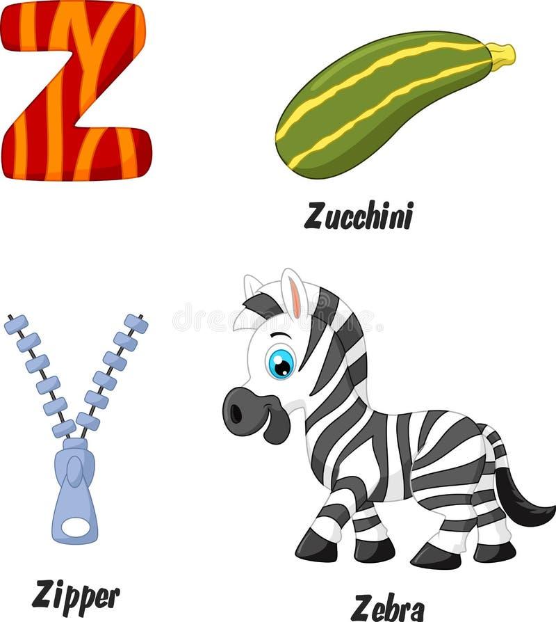 Z alphabet cartoon royalty free illustration