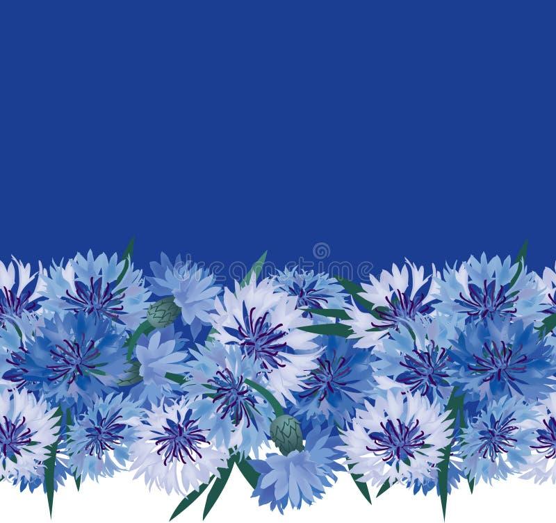Z błękitny kwiatem bezszwowa kwiecista granica royalty ilustracja