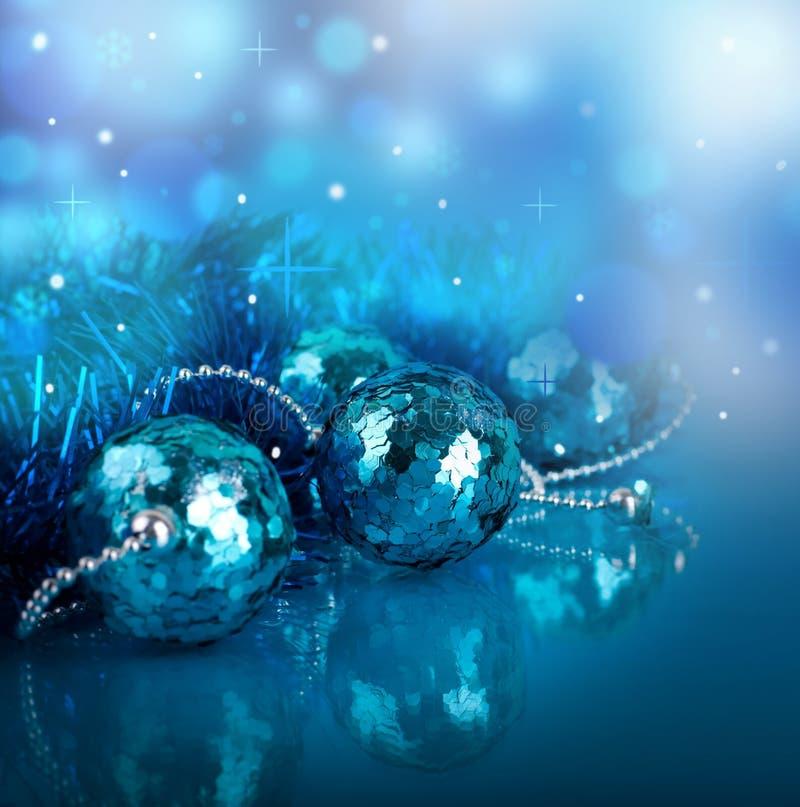 Z błękitny piłkami nowy rok karta obraz stock