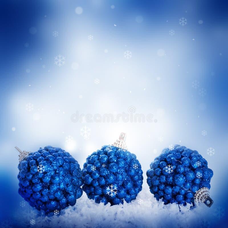 Z błękitny piłkami nowy rok karta obraz royalty free